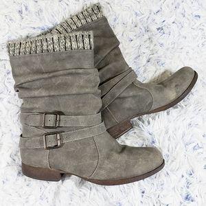 JustFab Morlan Slouchy Gray Boot 7.5